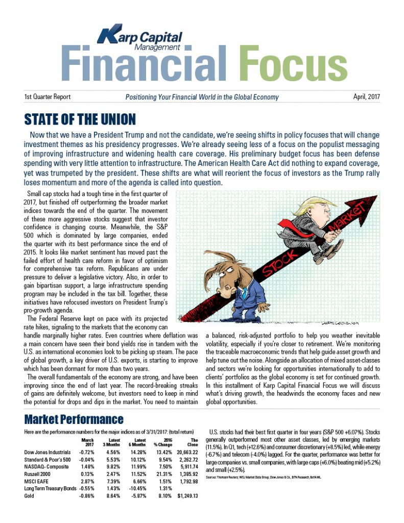 State of the union, Financial Focus Newsletter 2017 - 1st quarter report cover