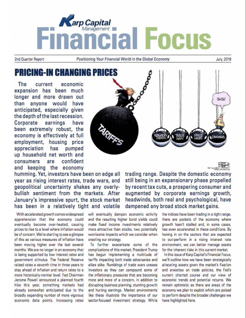 Karp Capital financial focus newsletter cover photo